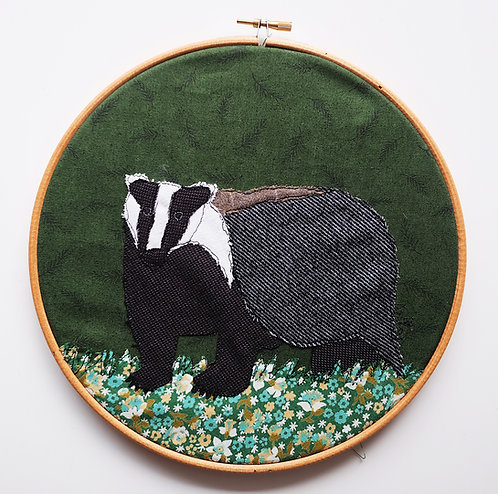 Badger : Framed in Embroidery Hoop