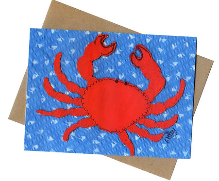 'Crabbing' Free-Motion Embroidered Greeting Card