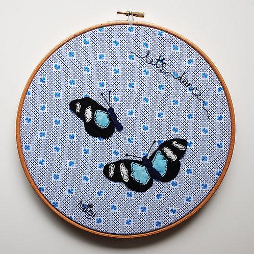 'Let's Dance' Butterflies : Framed in Embroidery Hoop