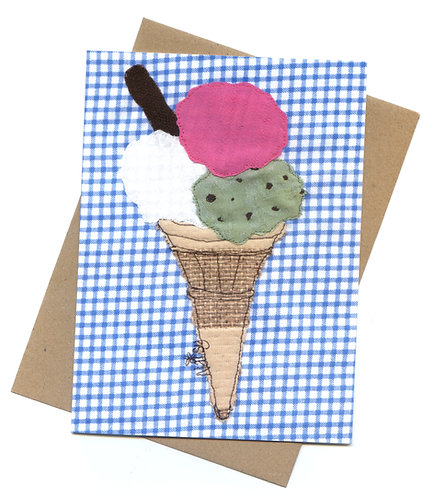 'Triple Scoop' Ice Cream Textile Art Greeting Card