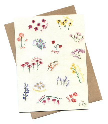 'Perennials' Stitched Flowers Greeting Card