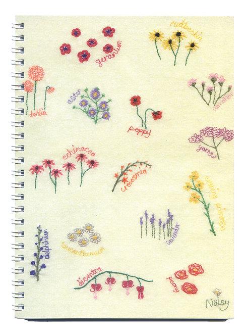 Perennial Flowers Embroidered Art Notebook