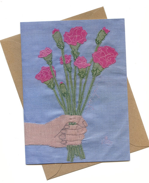 'Picked Just For You' Pink Carnation Greeting Card