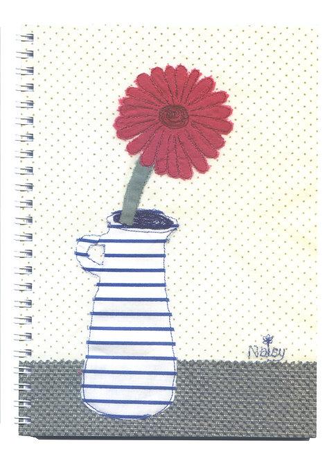 'Gerbera' Pink Flower Textile Art Notebook