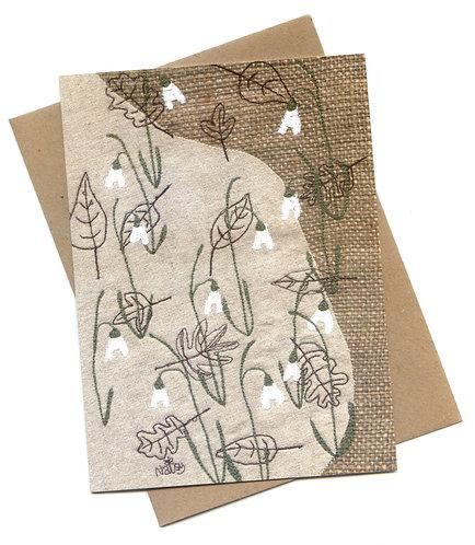 'Snowdrops' Textile Art Greeting Card