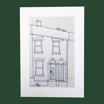 Black and White Thread Sketch House Illustration