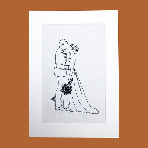 Thread Sketch Bride and Groom Illustration (Bespoke)