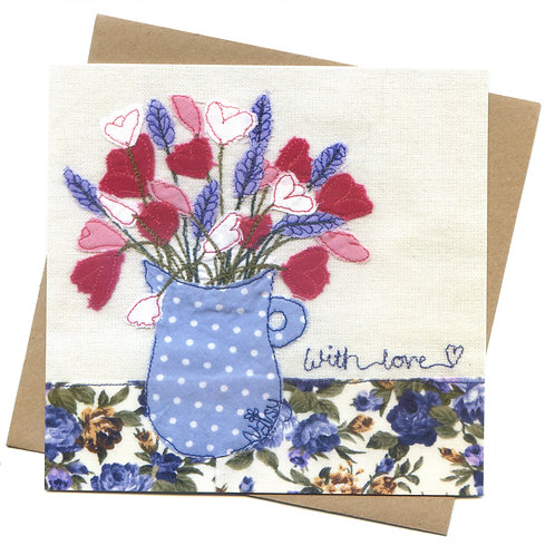 'With Love' Flowers in a Vase Greeting Card