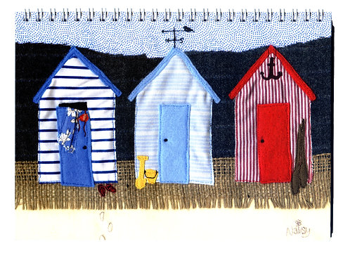 'Changing Rooms' Beach Huts Textile Art Notebook