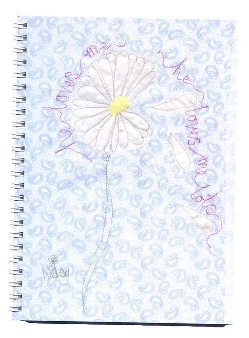 'He Loves Me' Daisy Textile Art Notebook