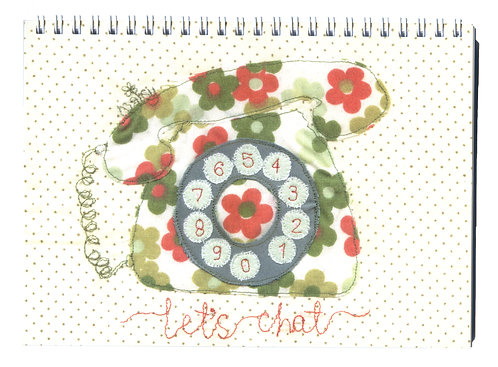 'Let's Chat' Retro Telephone Textile Art Notebook