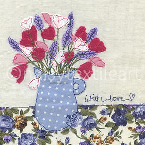 Textile Art Free Motion Embroidered Vase of Flowers