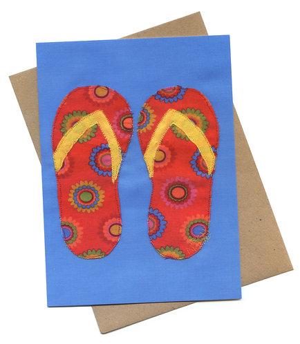 'Flip Flops' Appliqué Fabric Stitched Art Card