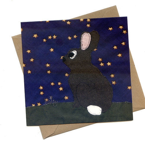 'Any Bunny Out There?' Rabbit Stargazing Card