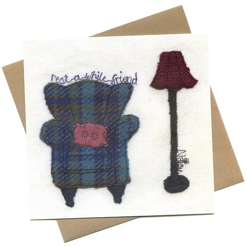 'Rest A While, Friend' Textile Art Greeting Card