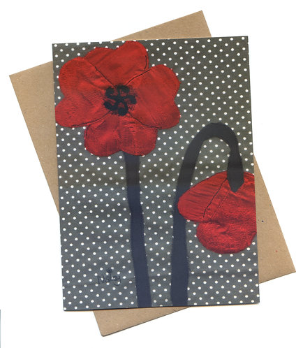 'Poppy' Embroidered Flowers Greeting Card