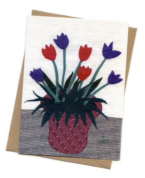 'Pot of Tulips' Greeting Card