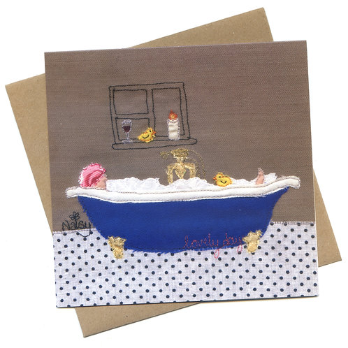 'Lovely Day' Bath Sewn Picture Greeting Card