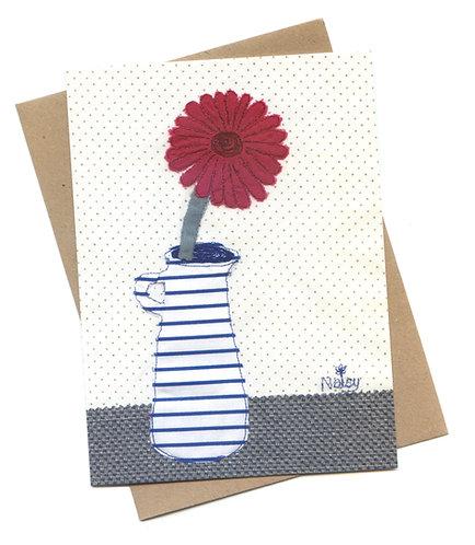 Pink 'Gerbera' Flower in a Jug Greeting Card