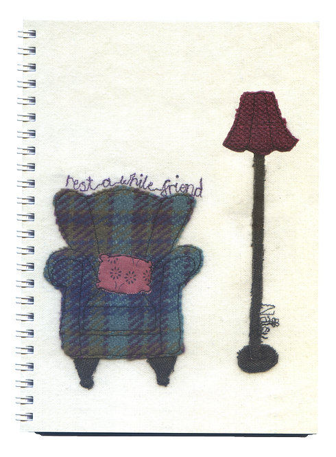 'Rest A While Friend' Textile Art Notebook