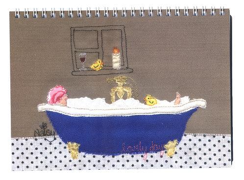'Lovely Day' Bubble Bath Textile Art Notebook