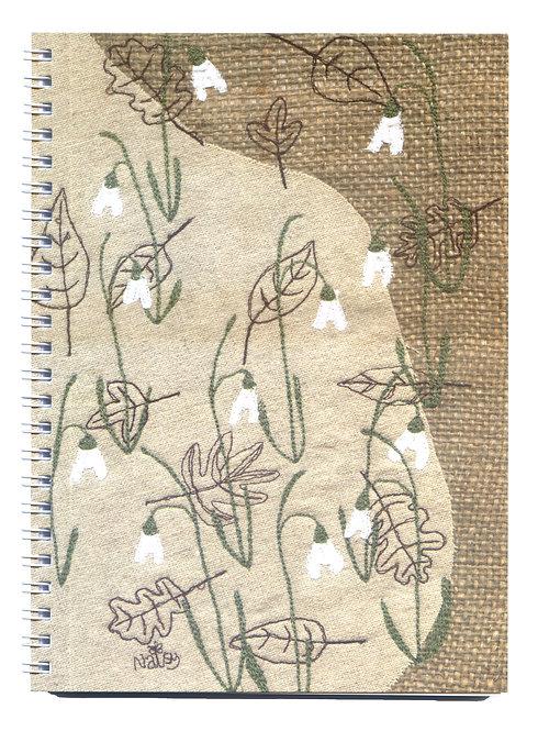 Snowdrops Appliqué Fabric Art Notebook