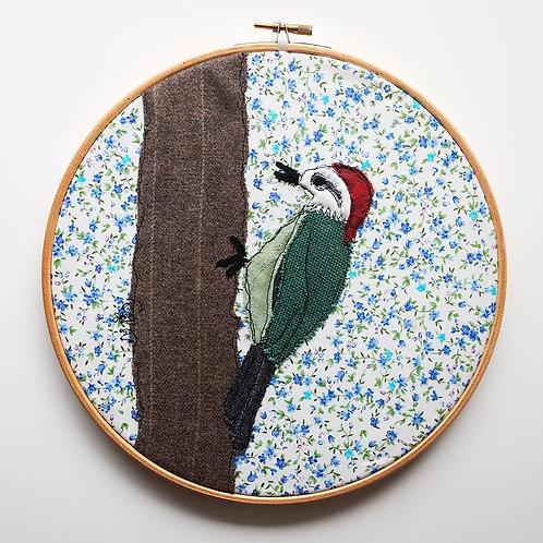 Woodpecker : Framed in Embroidery Hoop