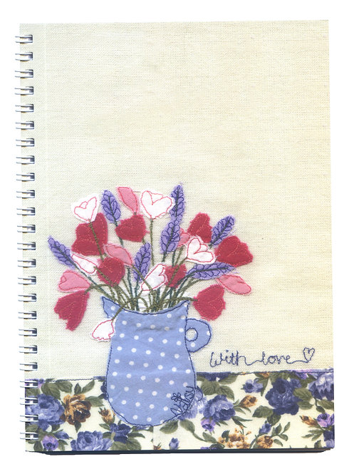 'With Love' Vase of Flowers Textile Art Notebook