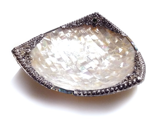 Silver Encrusted Mother of Pearl Dish