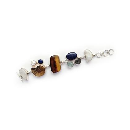 Semiprecious Stone Fossil Bracelet