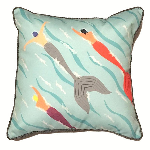 Merman Marathon Corded Throw Pillow