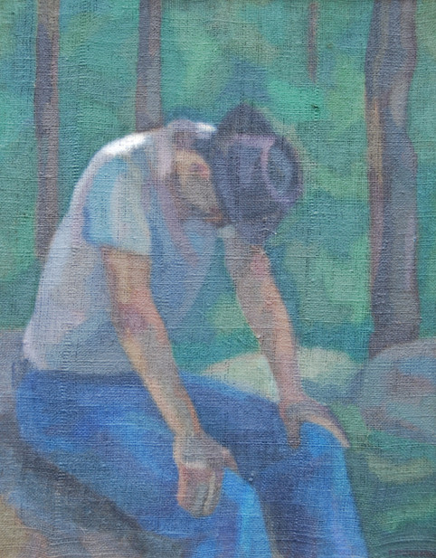 Introspective Male Figure in the Forest