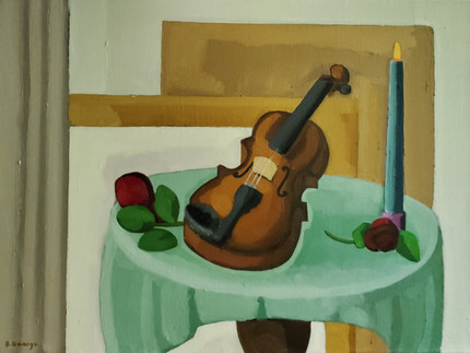 A Violin With Roses