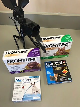 Boxes of Frontlie, Hartgard and NextGard heartworm medicine