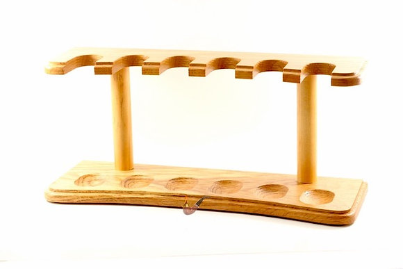 Natural Wood 6 Pipe Rack