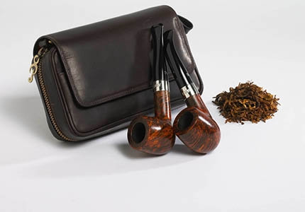 Peterson Deluxe Leather 2 Pipe Carry Case