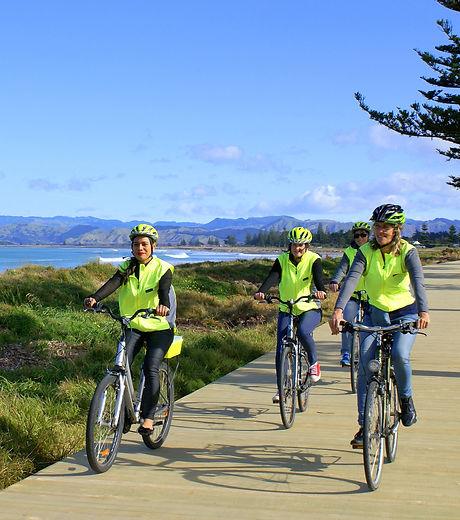 Cycles on Oneroa Walkway - courtesy of C