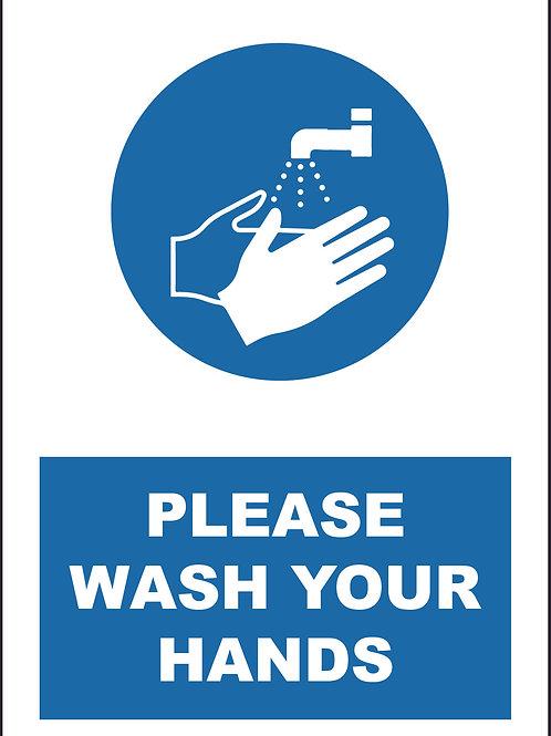 Please Wash Hands Sign / Self Adhesive Print
