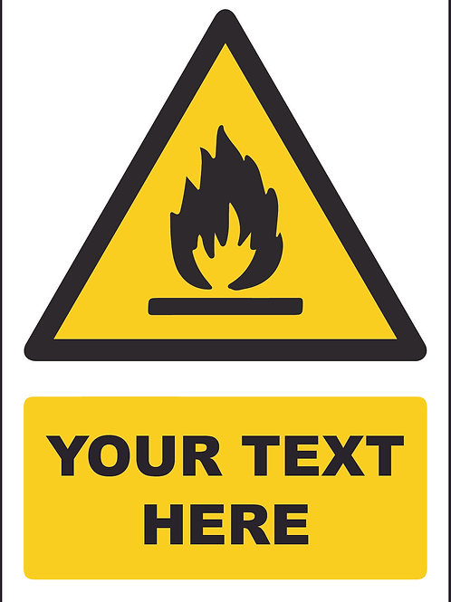 Personalised Flammable Symbol Sign