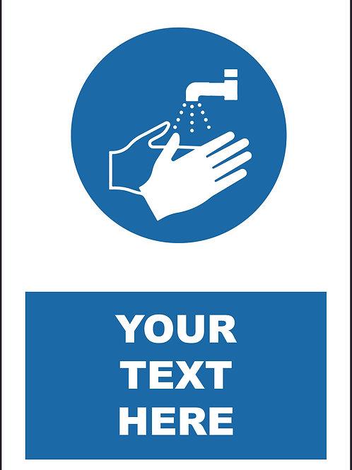 Personalised Wash Hands Symbol Sign / Self Adhesive Print