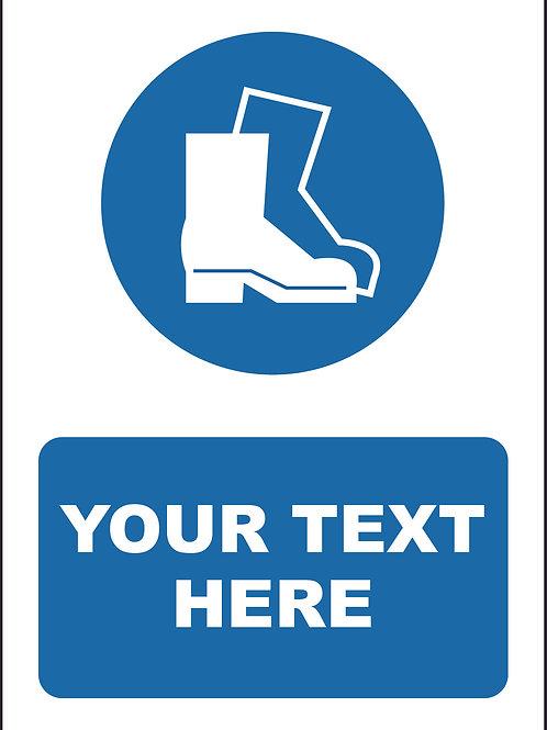 Personalised Protective Footwear Symbol Sign / Self Adhesive Print