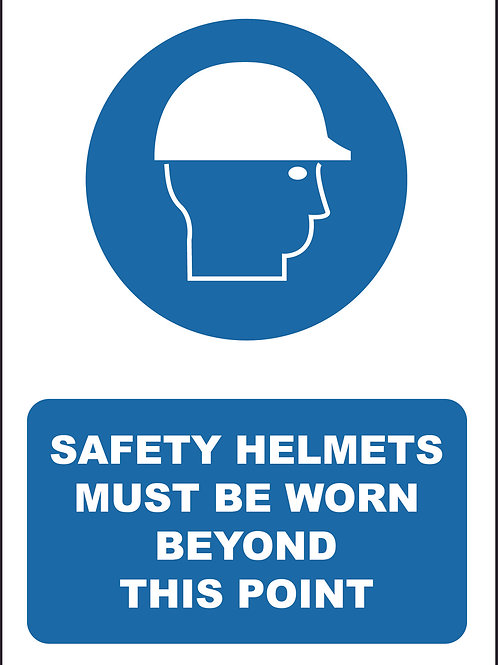 Safety Helmets Must Be Worn Sign / Self Adhesive Print