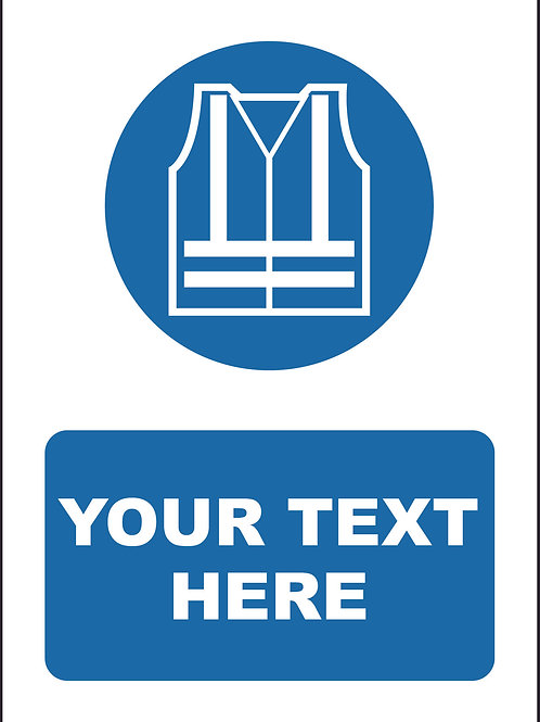 Personalised High Visibility Vest Symbol Sign / Self Adhesive Print