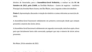 RIO MAIOR SPORT CLUBE REALIZA ASSEMBLEIA GERAL ORDINÁRIA