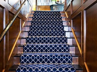 Navy and White Custom Stair Runner fabricated from Broadloom for extra wide staircase!~