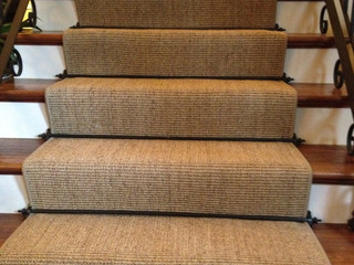 Beautiful Boucle' Sisal Runner with Hammered Iron Stair Rods