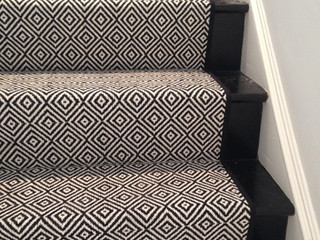 "Look At This Beautiful Custom Stair Runner! ""Black Diamond"" by Momeni!"