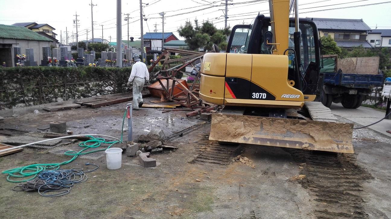 古い車庫の解体工事