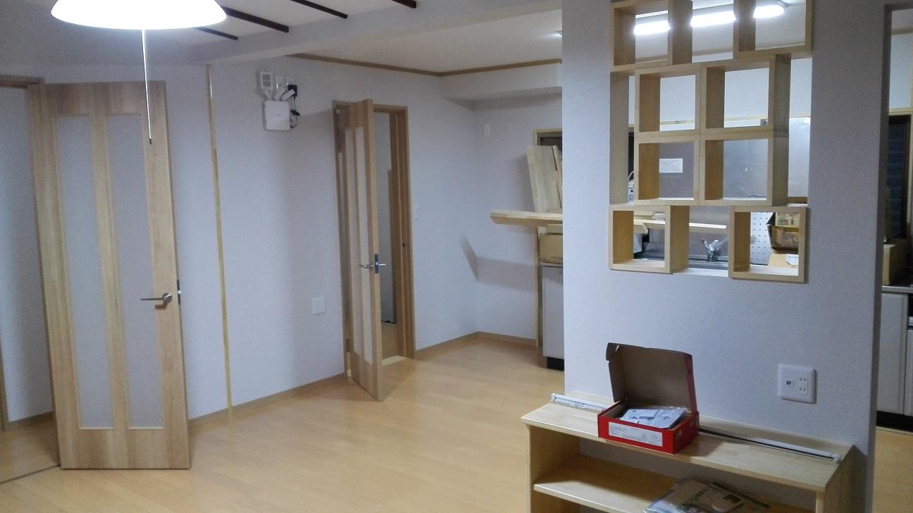 幸田町K様社員寮リフォームリビング完了
