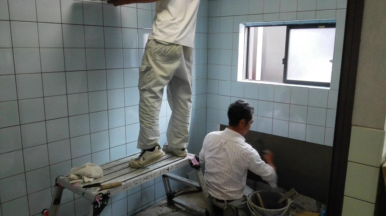 浴槽タイル張り